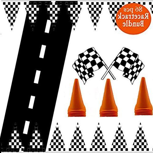 checkered black white racetrack banner