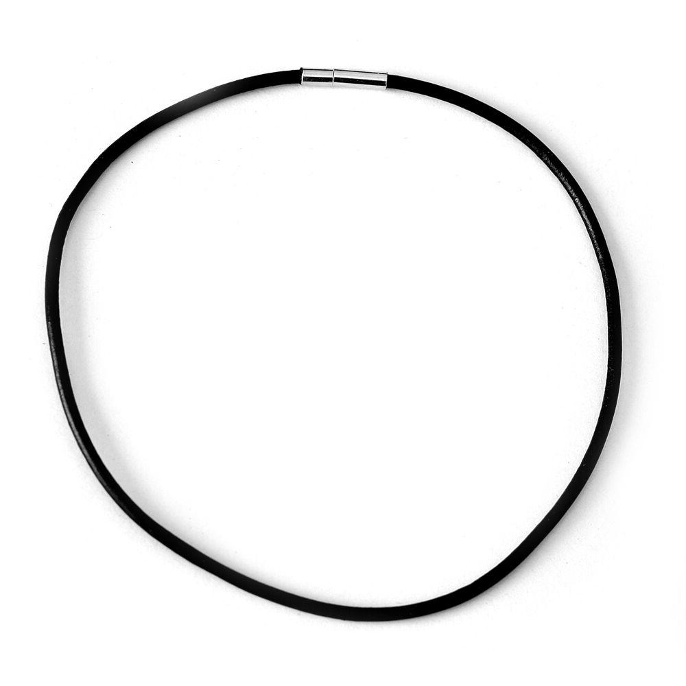 choker necklace 2mm black leather cord bayonet