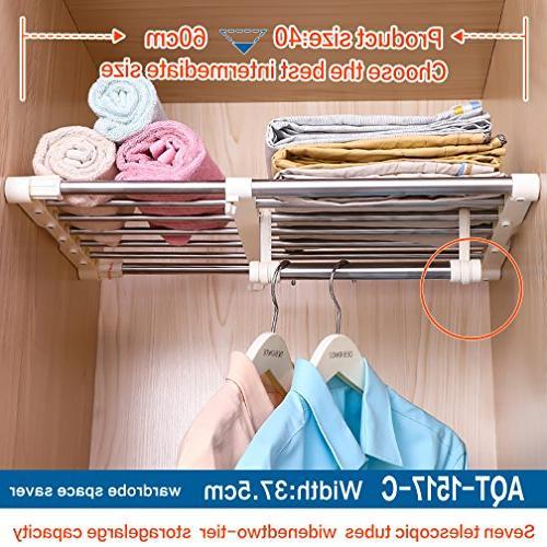 Hershii Shelf Expandable Telescopic Duty Adjustable DIY Organizer Shoe Rack 7-Bar for Bathroom Kitchen Bedroom