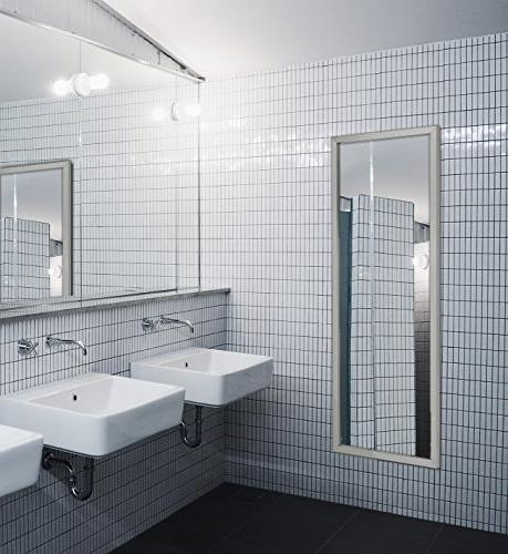 Wall Contemporary Industrial Strength Metal Rectangle Mirrored or Restroom Horizontal Vertical