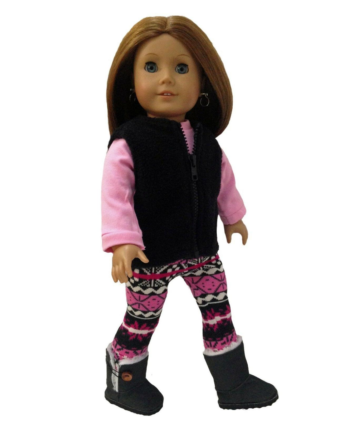 doll clothes fleece vest pink shirt print