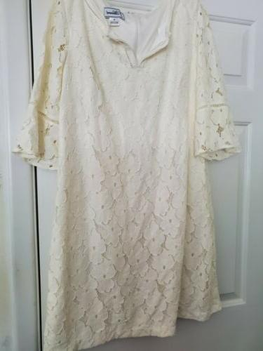 dress ivory with lace over lay size