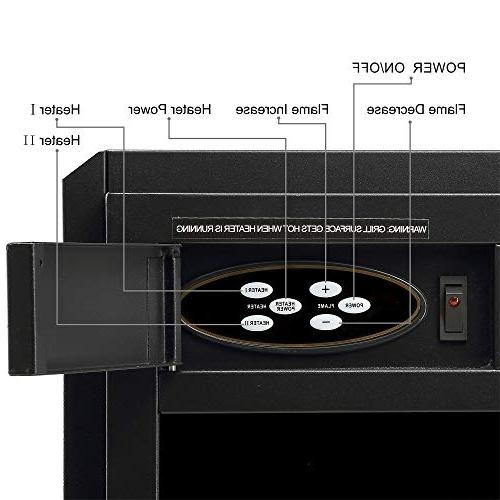 "JAMFLY 18"" Freestanding Heater 7 Log Hearth Settings Remote Control,1500w,Black"