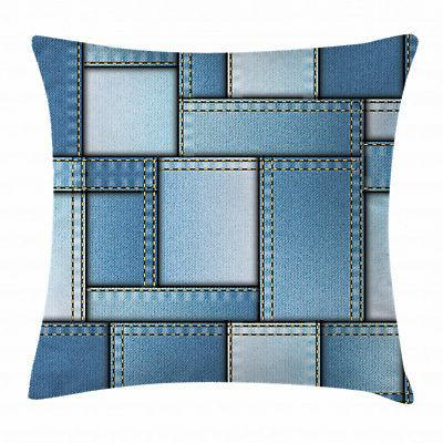 Fabric Throw Pillow Case Denim Patchwork Pattern Square Cush