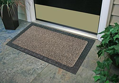 """GrassWorx Clean Welcome Doormat, 18"""" 30"""", Taupe"""