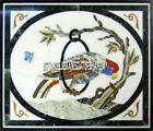 Fine Marble Side Custom Table Top Mosaic Inlay Birds Arts Ha