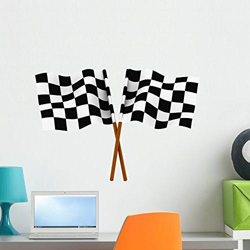 finishing checkered flag wall decal