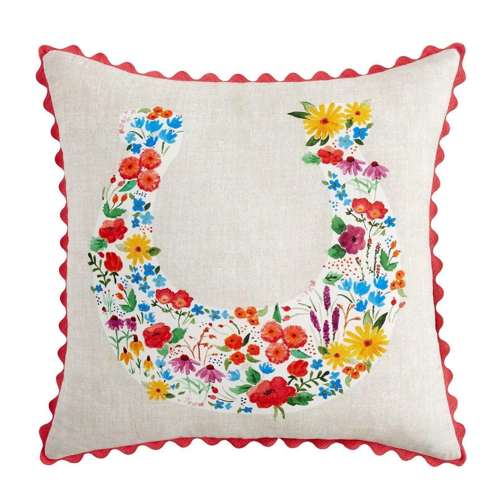 flowering horseshoe decorative throw pillow