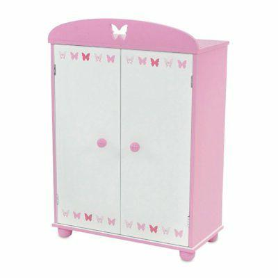 18 Inch Doll Furniture | Beautiful Pink and White Armoire Cl