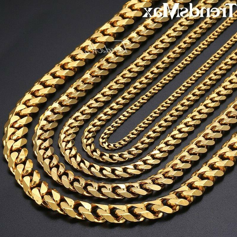 18-36 Gold Steel Curb Chain Necklaces Men 3/5/7/9/11mm