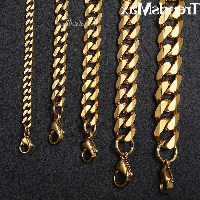 18-36 Gold Steel Curb Necklaces Men