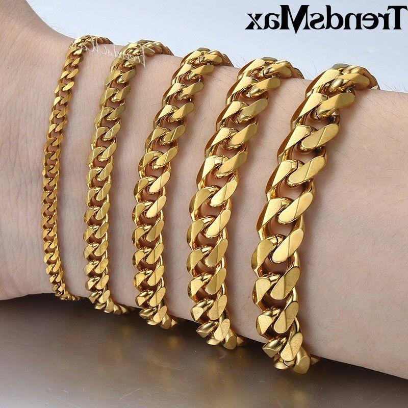 18-36 inch Gold Stainless Steel Curb Cuban Necklaces For Men 3/5/7/9/11mm