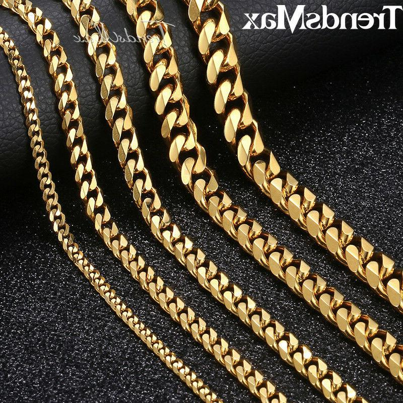 "18""-36"" Stainless Steel Gold Tone Chain Cuban Curb Mens Neck"