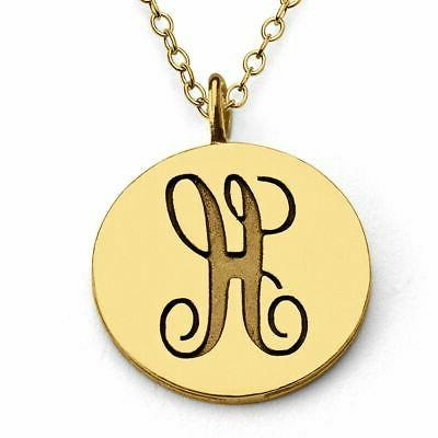 gold plated personalized scripted initial letter h