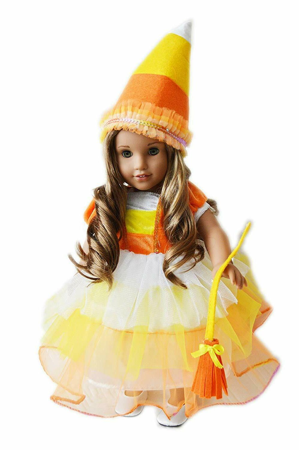 halloween candy corn costume fits 18 inch