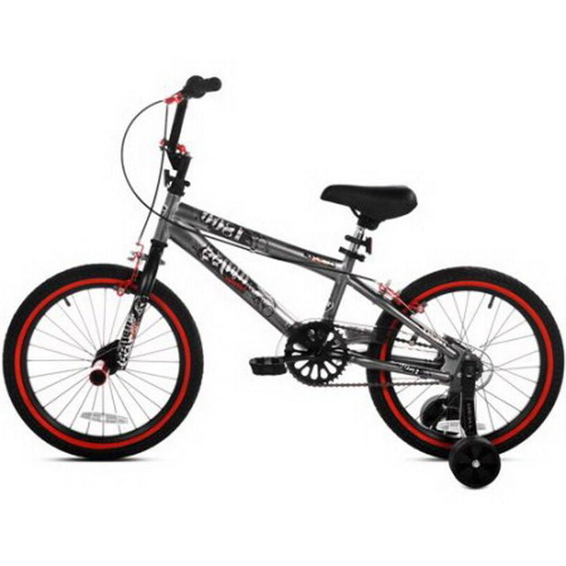 "18"" Inch Boys BMX Bike w Training Wheels & Front Pegs Kids B"