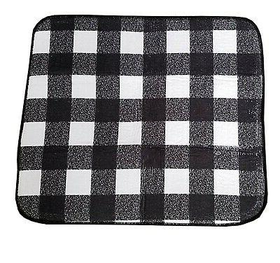 Kitchen Dish Drying Mat Black White Buffalo Plaid Check 16 x