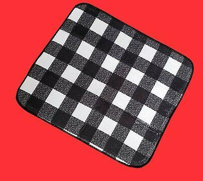 Kitchen Dish Drying Mat Black Buffalo Plaid Check 18 Inch Microfiber