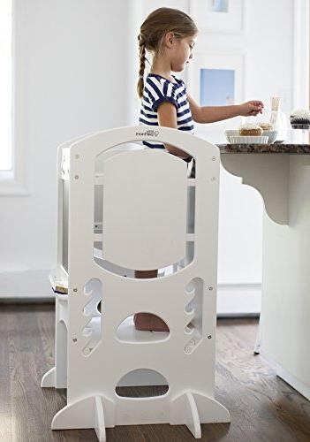 """Limited Edition"""" Tower Kids Kitchen Step Stool with Rail – Wood Construction – Quality Furniture from Little Partners"""