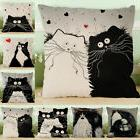 Linen Black and white Cat Pattern printing Cute Pillow Cover