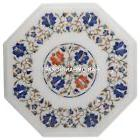 Marble Top Custom Side Table Lapis Floral Art Mosaic Inlaid