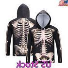 Mens Fashion Skeleton Skull Hoodie Sweatshirt Halloween Cost