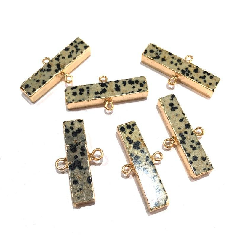 Natural stone fashion <font><b>Rectangular</b></font> Double hole for Necklace