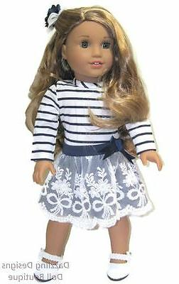 Navy & White Stripe Dress & Hair Bow Fits 18 Inch American G