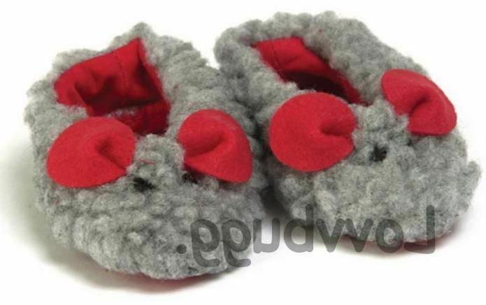 Gray Mouse Fuzzy Slippers for American Girl 18 inch Doll Sho