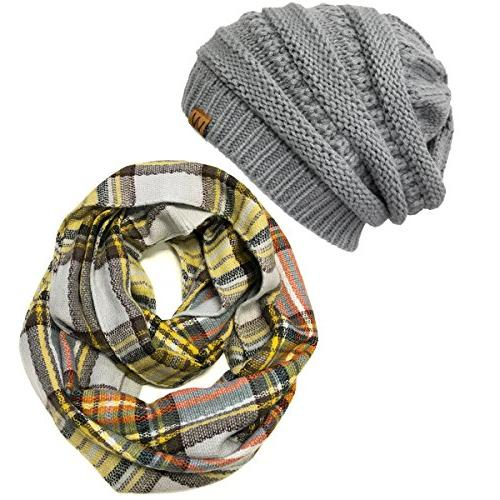 plaid print winter infinity scarf and beanie