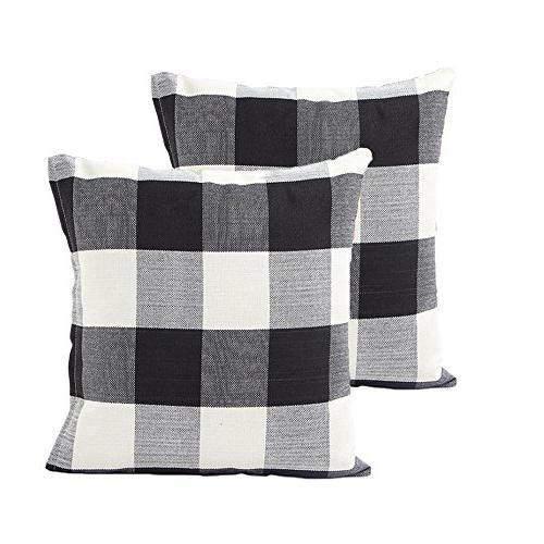 plaid throw pillow cover linen