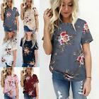 Plus Size Women's Blouse Short Sleeve Floral Print T-Shirt C