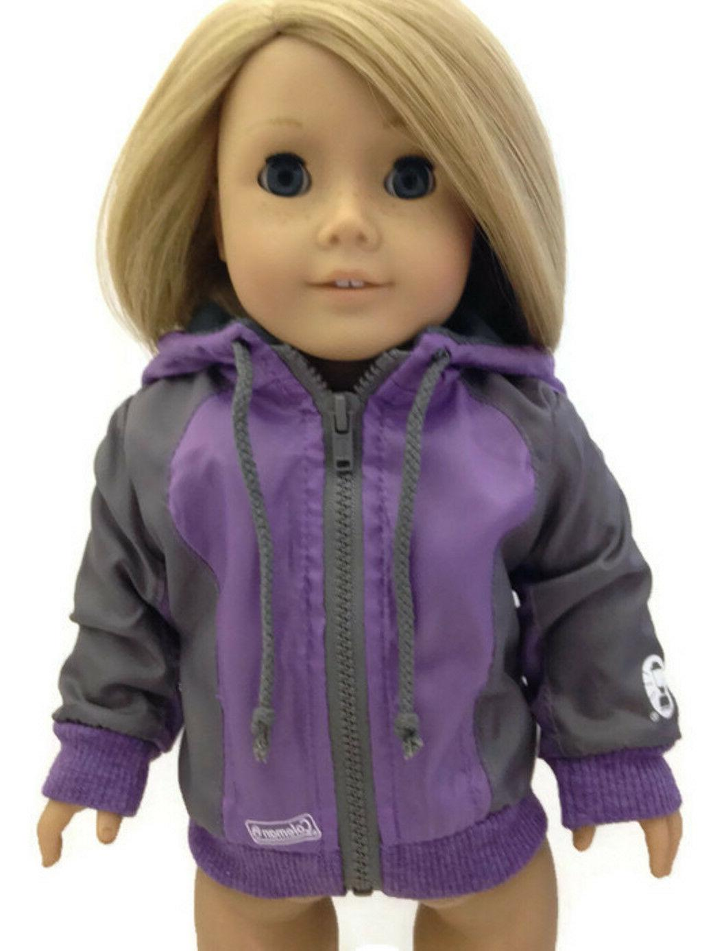 purple coleman nylon hooded jacket made