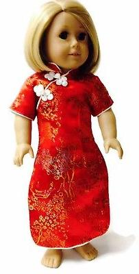 Red Asian Dress fits 18 inch American Girl Doll Clothes