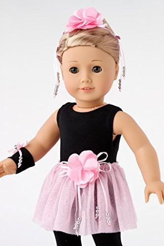 DreamWorld Time 5 Outfit - Black Pink Ballet Slippers, Corsage, American Girl