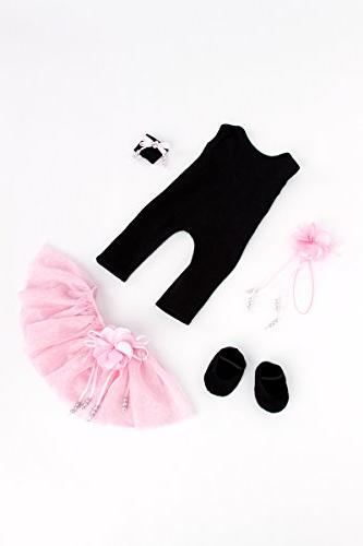 DreamWorld Collections Time - Outfit - Unitard, Pink Skirt, Slippers, Hairpiece Clothes Fits 18 American Girl