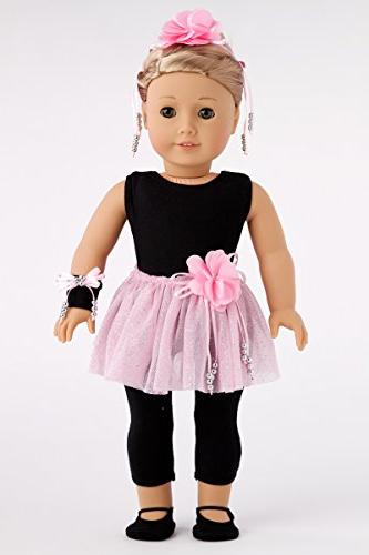 DreamWorld Collections - Show Time Piece Outfit Black Pink Slippers, Corsage, Hairpiece - Clothes Inch American Doll