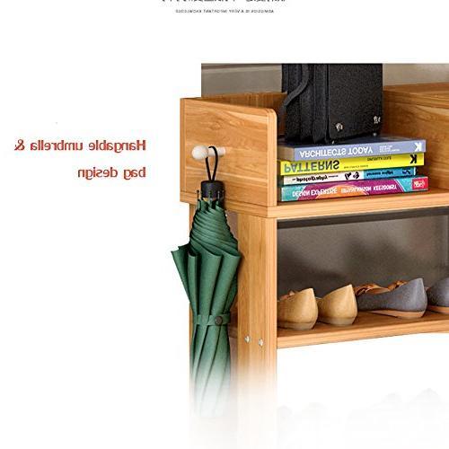 DULPLAY 100% Wood Shoe Rack,Bamboo,Flower Function Assemble Entryway Bedroom-A