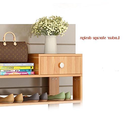 DULPLAY Solid Shoe Rack,Bamboo,Flower Bookshelf Function Assemble Entryway Shelf Stand Shelves Bedroom-A