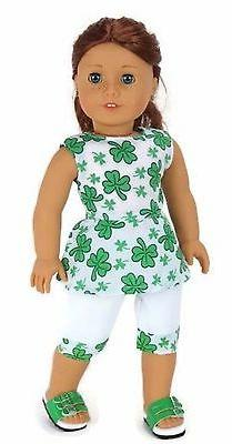 St Patrick's Day Top & Capris Outfit for 18 inch American Gi