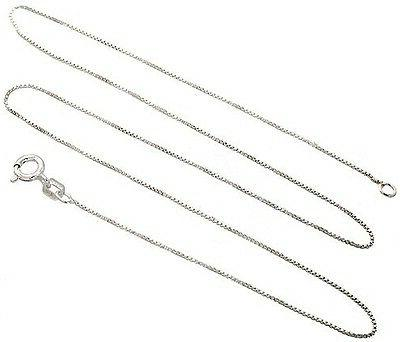 Sterling Silver Necklace BOX Chain Solid 925 Italy 1mm New W