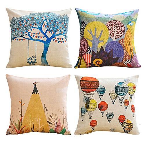 MINA LOBATA Throw Pillow Covers 18x18 Inch Set of 4 Cotton L
