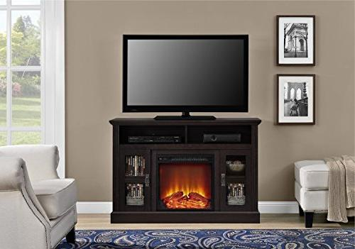 Tv Flat Screens Electric Fireplace Console Entertainment Inch Wood