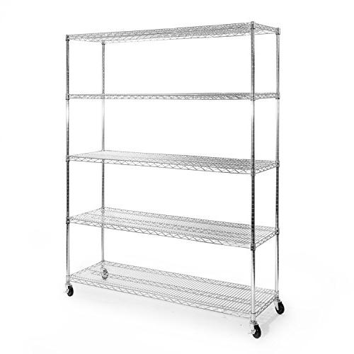 "Seville Classics 5-Shelf NSF Shelving with Wheels, 18"" 60"" x"