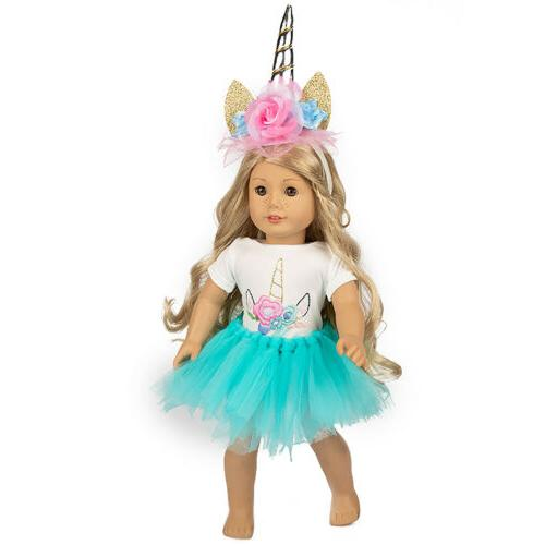 unicorn doll clothes blue dress tulle outfits
