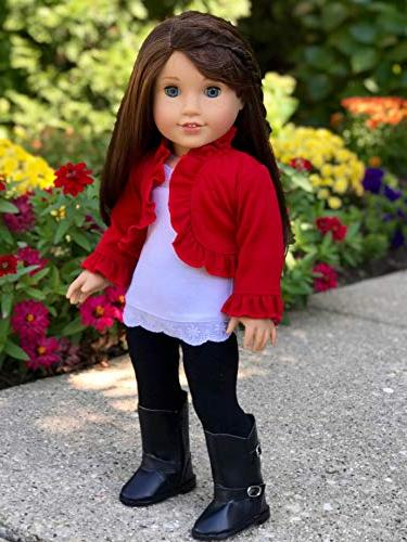 Uptown Girl - 4 piece ruffled top, black and boots Doll Clothes
