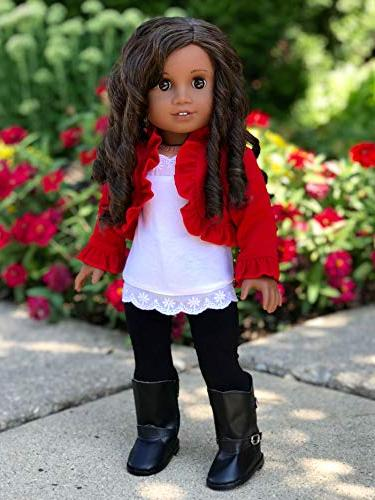Uptown Girl - piece outfit red ruffled top, black boots Doll