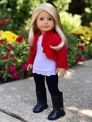Uptown 4 piece outfit - ruffled white top, black leggings and boots Doll