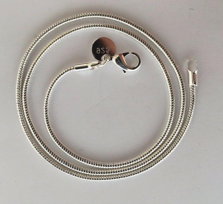 "USA 925 Silver 2mm Snake 18"" Jewelry"