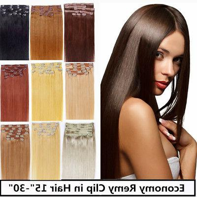 USA STOCK!18inch remy human hair clip In Extensions 7pcs&70g